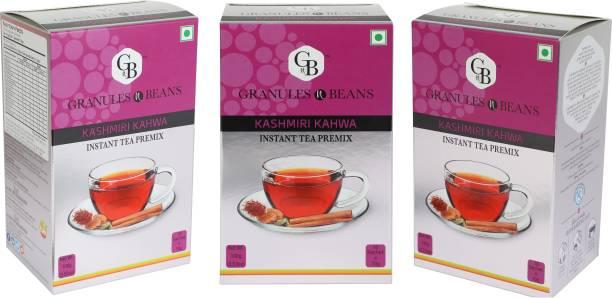 Granules and Beans Kashmiri Kahwa Instant Premix (Pack of 3)   Saffron & Cardamom Kahwa Instant Premix   30 Sachets of 10gms Each Kashmiri Chai for Immunity & Freshness Saffron Instant Tea Box