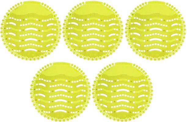 VAAMnational Urinal Screens, Fresh Air Splash Mats, Home Toilet Deodorizer, Round Anti Splash Plastic Urinal Deodoriser - Fits Most Top Urinal Brands & Waterless Yellow Lemon Mat Toilet Cleaner