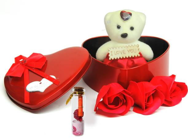 Nyaro Heart Shape Box with Teddy and Message Bottle Greeting Card