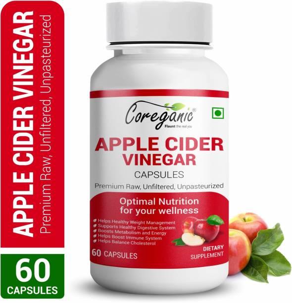 Coreganic Raw Apple Cider Vinegar Capsules | Support Weight Management & Boost Immunity Vinegar