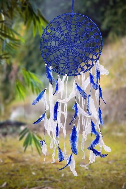 Ryme Blue And White Crochet Dream Catcher Wool Dream Catcher