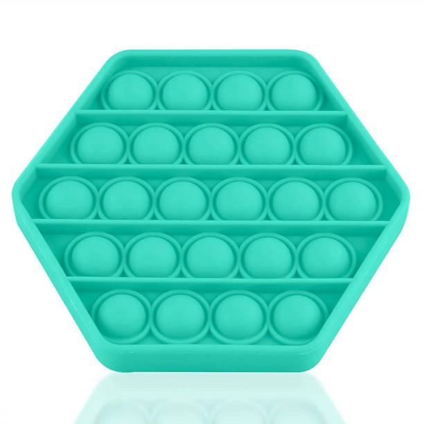 VIBOTON Pop It Fidget Toys, Push Pop Bubble Fidget Sensory Toy,Autism Silicone Stress Relief Toy,Great Fidget Toy Sensory Toys Novelty Gifts for Girls Boys Kids Adults (Green Hexagon) Bath Toy