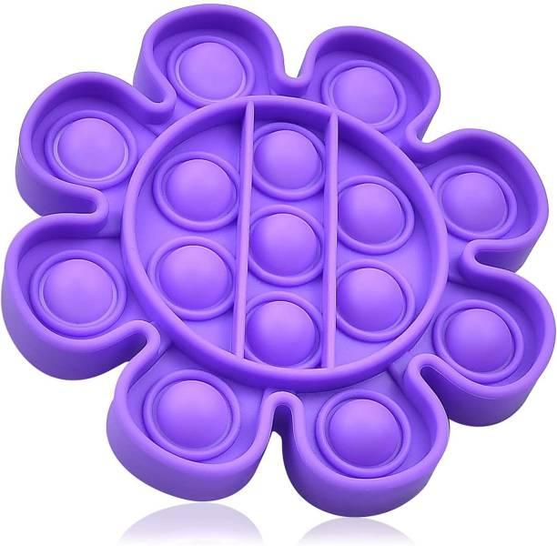 VIBOTON Fidget Toys, Push Bubble Fidget Sensory Toy,Autism Silicone Stress Relief Toy,Great Fidget Toy Sensory Toys Novelty Gifts for Girls Boys Kids Adults (Purple Flower) Bath Toy