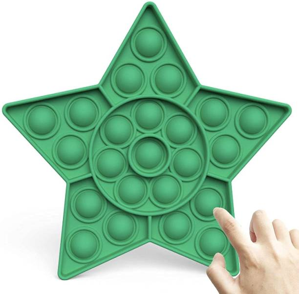 VIBOTON Pop It Fidget Toys, Push Pop Bubble Fidget Sensory Toy,Autism Silicone Stress Relief Toy,Great Fidget Toy Sensory Toys Novelty Gifts for Girls Boys Kids Adults (Green Star) Bath Toy
