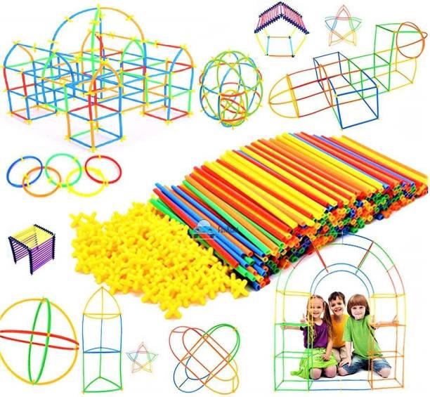 Affiliates 100 PCS DIY Plastic Straw Brick Set Pipes Blocks Space Children Intelligence Plastic Pipe Blocks Building Toys Straws and connectors (Multicolor)