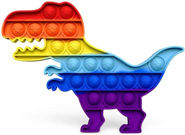 JIALTO Pop Dinosaur Decompression Toy it Pop Rainbow Up it Toy Dinosaur Push on Bubble Sensory Fidget Toys for Stress Relief Learning Materials, Squeeze Toy for Kids (Dinosaur Rainbow) Party & Fun Games Board Game