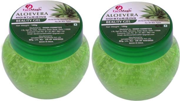 FACE MAGIC Aloevera Moisturising Beauty gel with Aloevera pulp, Manjishtha & Turmeric 100ml pack of 2