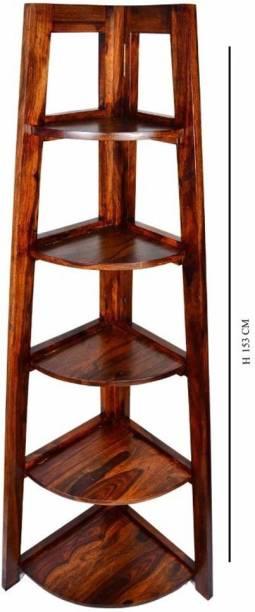 Tamannaartpalace Solid Wood Corner Bookshelf with Five Shelves in Natural Honey Oak Finish, Pre-Assembled Solid Wood Open Book Shelf