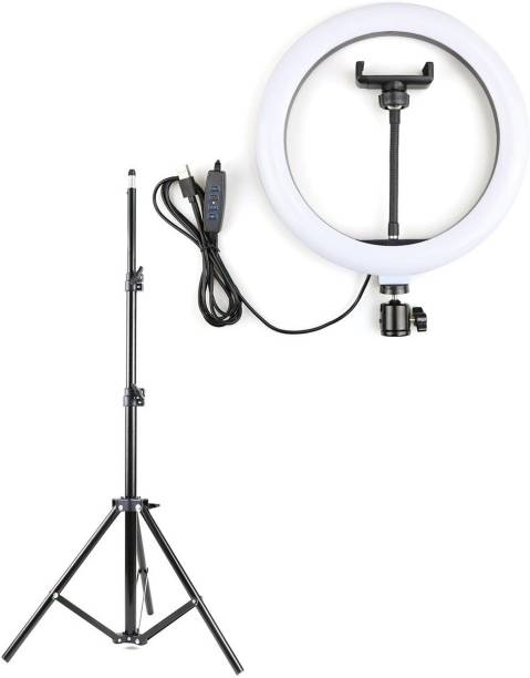 Alchiko New Big LED Ring Light With Adjustable Brightness And Colour Temperature And Fully Flexible 2.1 Tripod 2500 lx Camera LED Light