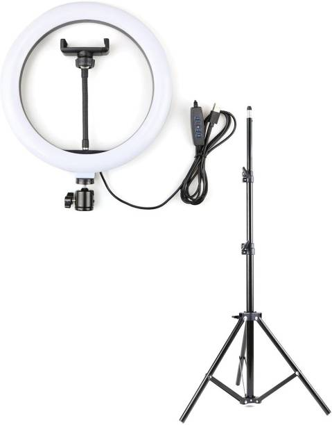 Alchiko New Portable Big LED Selfie Ring Light for Smartphone to Capture Your Photo and Video with long 2.1 Stand for Live Streaming, LED Makeup, Video Conference, Online Classes 2500 lx Camera LED Light