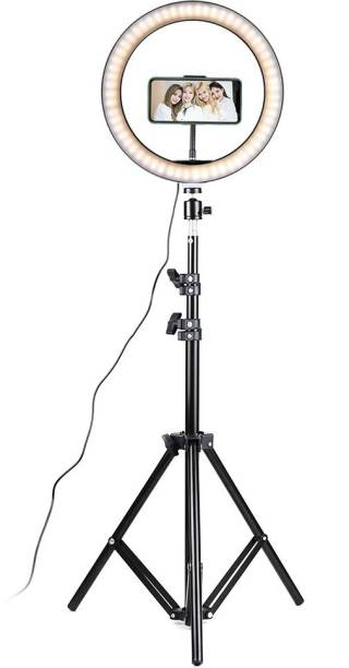 Alchiko New 2.1 Big Tripod With Good Quality Selfie Ring Light 360 Degree Rotating For All Smartphones & Cameras For Video Short, Live Stream, Makeup, Online Lecture 2500 lx Camera LED Light