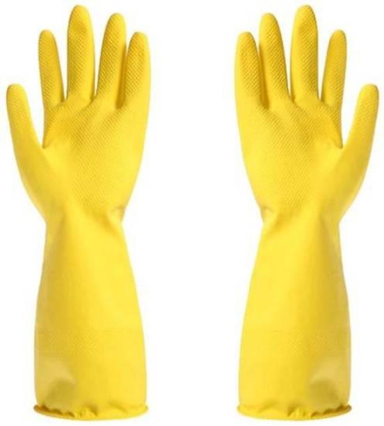 Gambit Multipurpose Natural Gum Rubber Reusable Cleaning Gloves   Hand Gloves Free Size for Washing, Cleaning Kitchen   Gardening Dishwashing Scrubbing Cleaning Gloves   1 Pair   Wet and Dry Glove