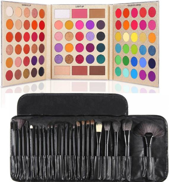 D.B.Z. Pretty All Set Eyeshadow Palette Set Pro 86 Colors Makeup Kit Matte Shimmer Eye Shadow Highlighters Contour Blush Powder All In One Makeup Pallet & 24 pc makeup brush BLACK