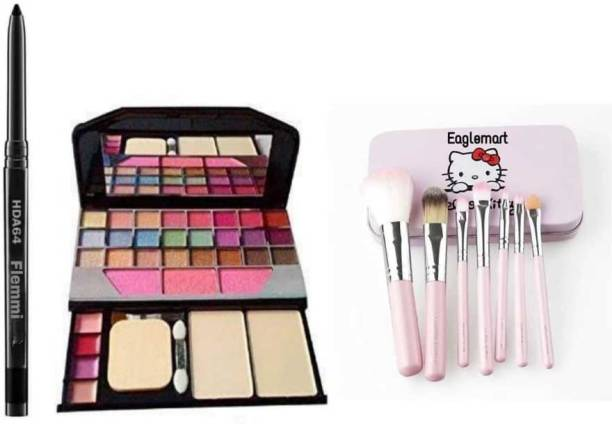 eaglemart Smudge Proof Kajal with Set of 7 Makeup Brushes include storage box & All in One Best Makeup kit