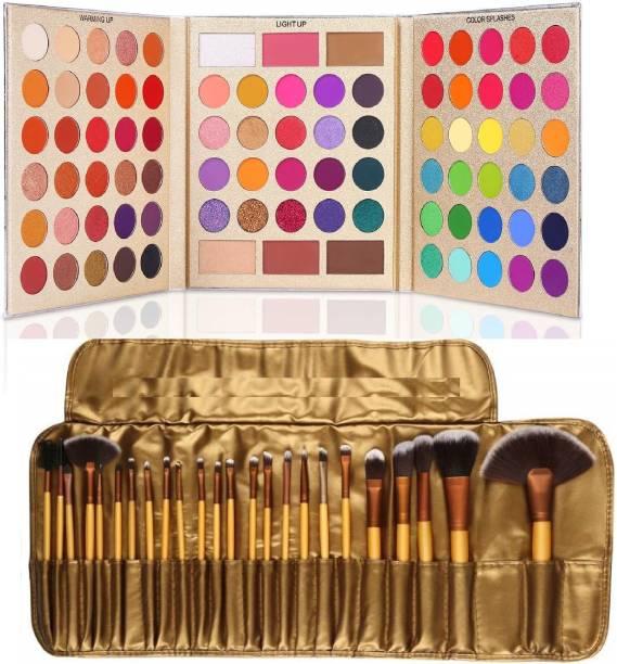 D.B.Z. Pretty All Set Eyeshadow Palette Set Pro 86 Colors Makeup Kit Matte Shimmer Eye Shadow Highlighters Contour Blush Powder All In One Makeup Pallet & 24 pc makeup brush golden