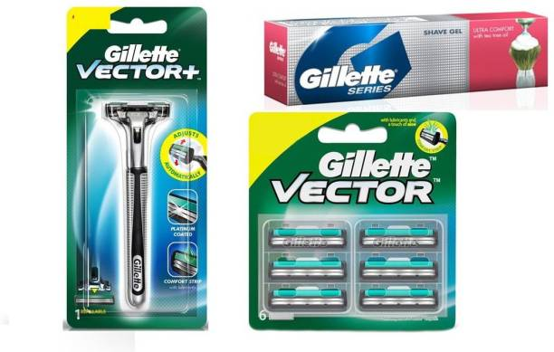 GILLETTE vector+ razor and cartridges series shave gel