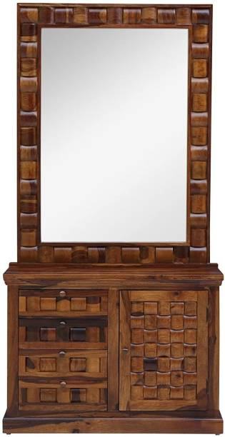 Made Wood Solid Dressing Table in Provincial Teak Finish Solid Wood Dressing Table