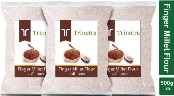 Trinetra Best Quality Finger Millet Flour / Ragi Atta 500g Pack of 3