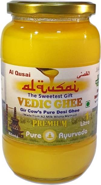 Al Qusai Ghee, Gir Cow's Pure Desi Ghee (Made From Organic A2 Milk-Bilona Method) Ghee 1 Litre (905g) Glass Bottle 1 L Glass Bottle