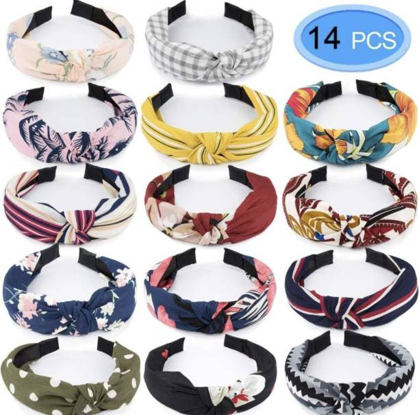 Myra Collection 14 Pack Cute Knotted Headbands for Women Bow Knot Boho wide Cloth Hair Bands multi color (Random) Hair Band