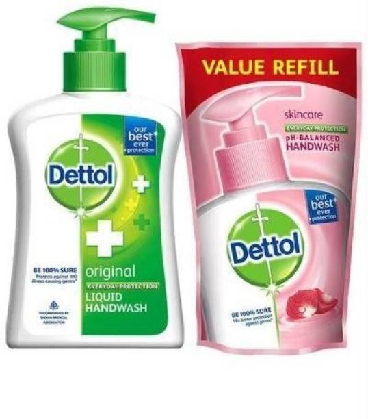 Dettol 100 Percent Original Liquid Hand Wash with Refill Pouch - 250ml + 175ml Hand Wash Bottle