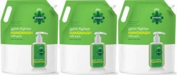 Godrej Protekt Germ Fighter Handwash Neem & Aloe Vera 1500ml - Pack of 3 Hand Wash Refill Pouch Hand Wash Refill Pouch