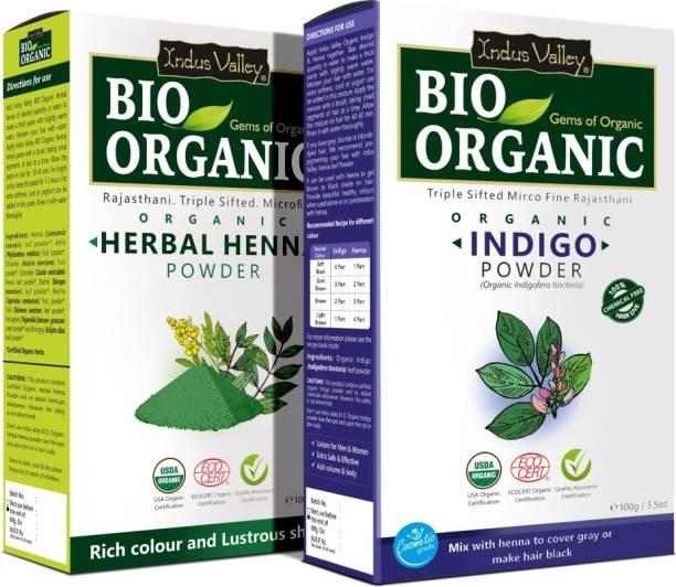 Indus Valley 100% Organic Indigo Powder and Bio Henna Mehendi Powder Combo Pack