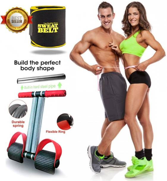 Top Quality Store Tummy Trimmer with Sweat Belt Combo Weight Loss Fitness Equipment for Men & Women Home Gym-Abs Exerciser-Sweat Belt Free Size for Use Gym & Fitness Kit