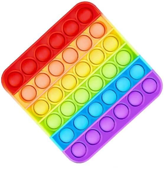 BONIRY Pop it Fidget Toys, Push Bubble Fidget Sensory Toy,Autism Special Needs Silicone Stress Relief Toy, Great Fidget Toy Sensory Toys Novelty Gifts for Girls Boys Kids Adults (Square Rainbow)