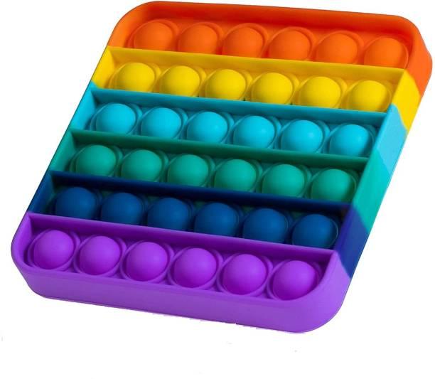 JIALTO Push Pop Bubble Sensory Fidget Toy Set ,Pop It Push Pop Silicone -Relief Items Popper Fidget Educational Toys for ADHD Autism Special Needs Toys , Family and Friends (Square Rainbow)