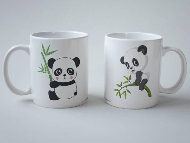 purezento Mr. Panda & Miss Panda gift for brother sister on Rakhsa Bandhan Ceramic Coffee Mug