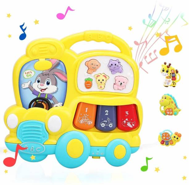 ARONET Educational School Bus Toy Baby Musical Light up Piano Toddler Toy for Babies and Toddlers Keyboard Toys for Baby boy & girl (Multicolor)