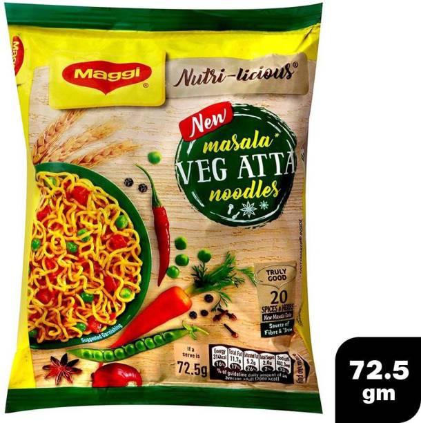 Maggi New Masala Veg Atta Noodles (Pack of 12) (12x72.5 gm) Instant Noodles Vegetarian