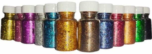 nawani Glitter Powder for Arts & Crafts, Scrapbooking, Paper Decorations. 10 Pic Multi Clour.