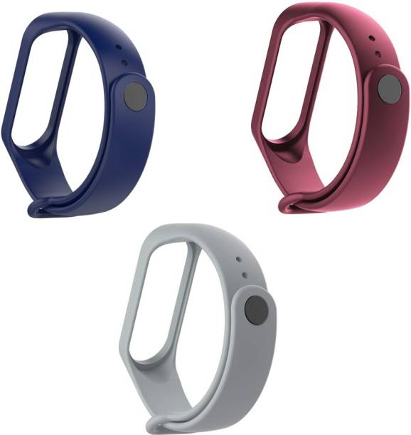 LineOn Combo Pack of 3 Soft Silicone Adjustable with Xiaomi Mi 3/ Mi 4 Band Watch Strap Bracelet (Not Compatible with Mi Band 1/2) Smart Band Strap