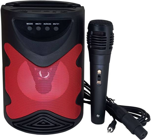 Techobucks New Arrival Disco Light |Wireless Speaker |with Karaoke Mic |And Mobile Holding Space|Support Aux, USB & Fm-Radio |Compatible With All Kind Of Smartphones 10 W Bluetooth PA Speaker