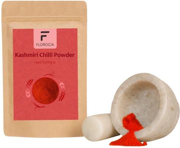 Florocia Organic 100% Pure & Natural Quality Powder Kashmiri Red Chilli | Dried Kashmiri Chilly Powder| 100% Authentic, Sun Dried, Pure & Fresh Crop (100 g)