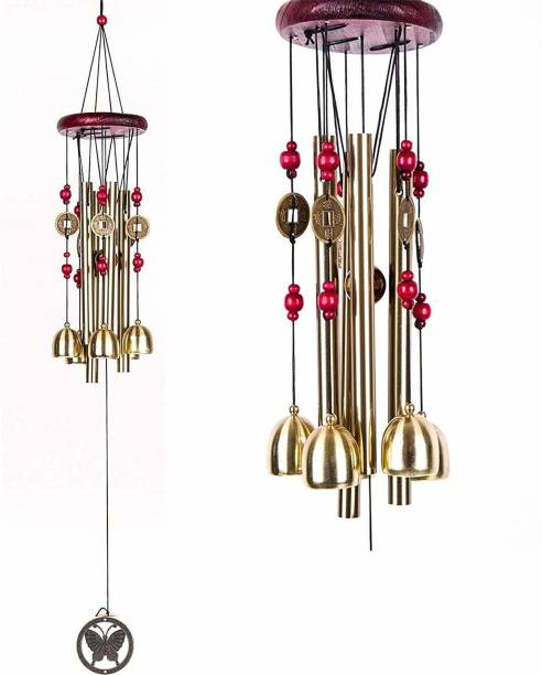 RSS ENTERPRISES Metal Wind Chimes with 4 Pipe and 5 Bells for Feng Shui at Home Balcony Garden Positive Energy, Home Decor Hanging Gifts for Loved Ones Jingle Good Sound 21 Inch Long Brass Windchime