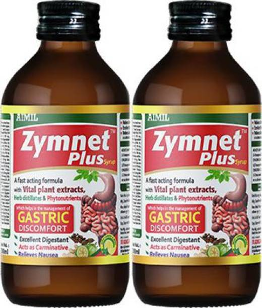 AIMIL Zymnet Plus Syrup for Digestive Health & Acidity   Relieves Gastric Discomforts   Abdominal Pains & Nausea (Pack of 2)