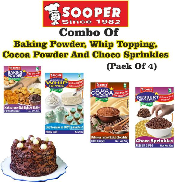 SOOPER BAKING POWDER + WHIPPING CREAM MIX + COCOA POWDER + CHOCO STRANDS COMBO Topping Solid
