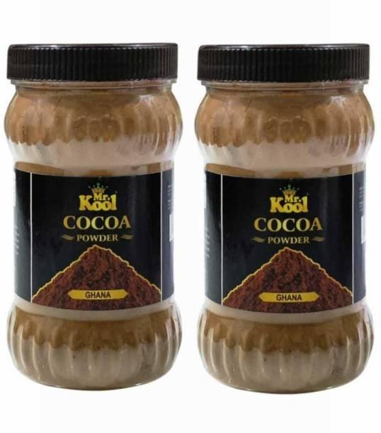 Mr.Kool Premium Natural Special Ghana Cocoa Powder Pack Of 2 (300gx2) | Ghana Cocoa Powder Natural & Unsweetened | Gluten free Jar Packaging Premium Ghana | 600g Combo | Cocoa Powder