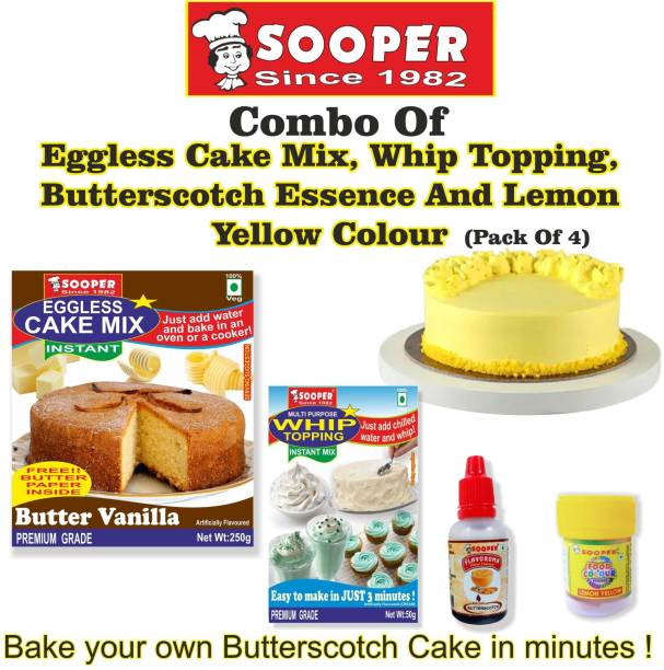 SOOPER CAKE MIX + WHIPPING CREAM + ESSENCE + COLOUR Topping Semi Solid