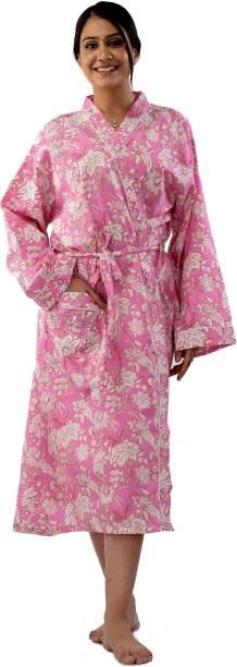 Ravaiyaa - Attitude Is Everything Pink, White 4XL Bath Robe
