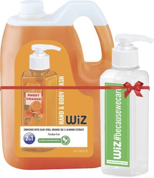 Wiz Sweet Orange 2in1 Hand & Body Wash - 5 L with Empty Refillable 200ml Dispenser Bottle