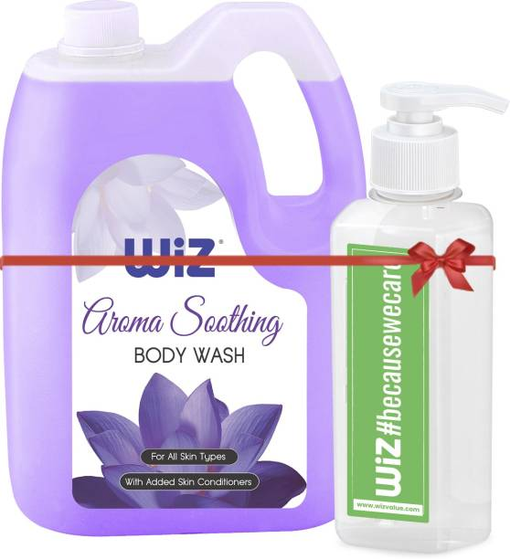 Wiz Aroma Soothing Classic Body Wash With Added Skin Conditioners - 5 litre Refill Can With 200ml Empty Dispenser Bottle