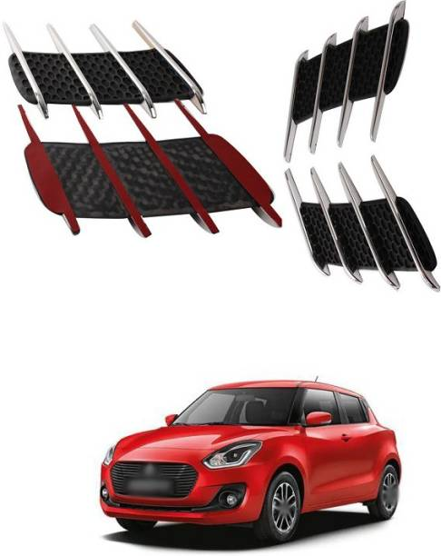 XZRTZ Car Side Airflow Grille, 2X Chrome Car Auto Bonnet Air Intake Flow Side Fender Vent Hood Scoop Cover (Silver + Black) A142 Matte, Glossy, Chrome Maruti Swift Side Garnish
