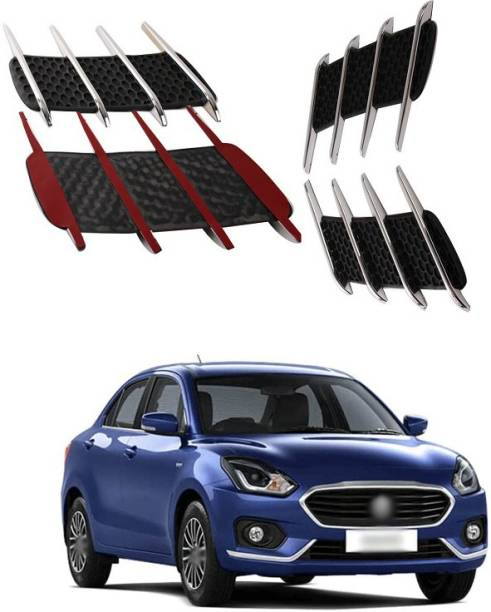 XZRTZ Car Side Airflow Grille, 2X Chrome Car Auto Bonnet Air Intake Flow Side Fender Vent Hood Scoop Cover (Silver + Black) A131 Matte, Glossy, Chrome Maruti Swift Dzire Side Garnish