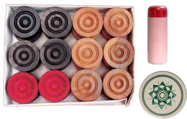 Honoty Wooden Carrom Coins,(Carrom goti) with 1 Striker and 1 Powder Carrom Pawns