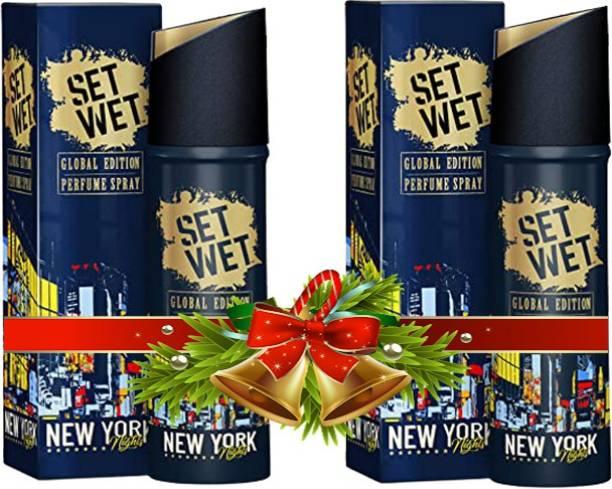 SET WET New York Nights Global Edition (Pack of 2) Deodorant Spray - For Men & Women (240 ml, Pack of 2) Deodorant Spray  -  For Men & Women