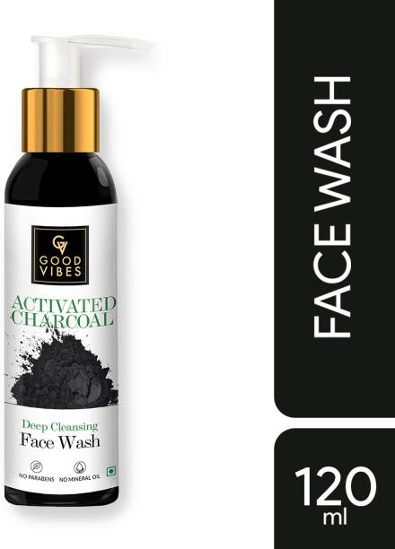 GOOD VIBES Deep Cleansing Activated Charcoal  (120 ml) Face Wash